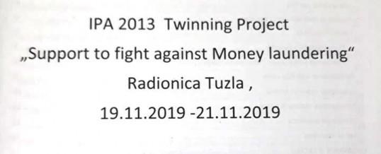"""Uprava policije –  Twining projekat IPA 2013 """"Podrška borbi protiv pranja novca"""""""